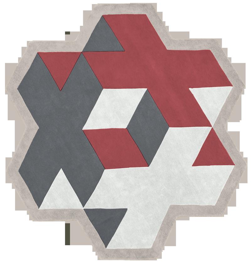 geometrical red tapis rug carpet
