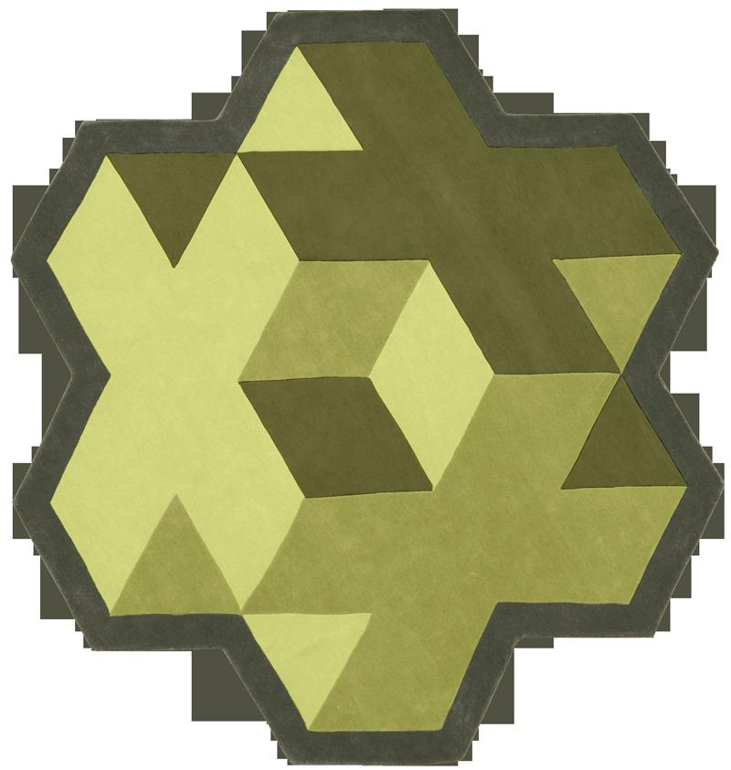geometrical green tapis rug carpet