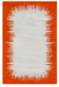 Ikat tapis rug carpet grey gris orange mandarine mandarin