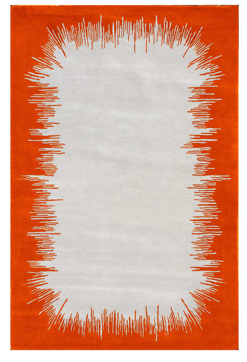 Ikat tapis rug carpet grey gris orange mandarine mandarin